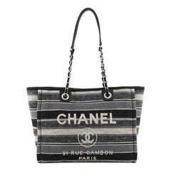 Chanel Deauville Tote Canvas with Striped Detail Small