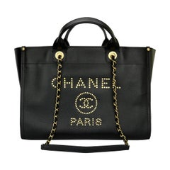 CHANEL Deauville Tote Large Black Caviar Studded with Brushed Gold Hardware 2019