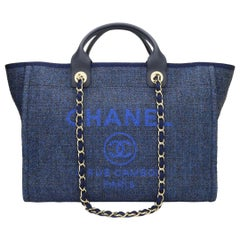CHANEL Deauville Tote Large Navy Canvas with Light Gold Hardware 2018