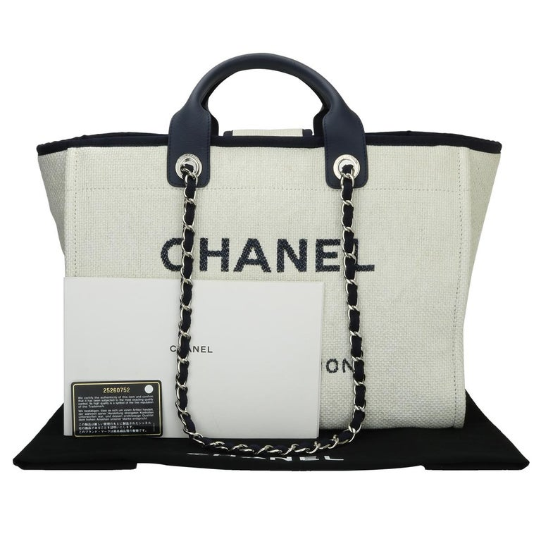 CHANEL Deauville Tote Large Navy Canvas with Silver Hardware 2018 For Sale 14