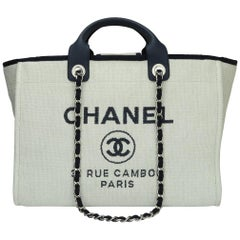 CHANEL Deauville Tote Large Navy Canvas with Silver Hardware 2018