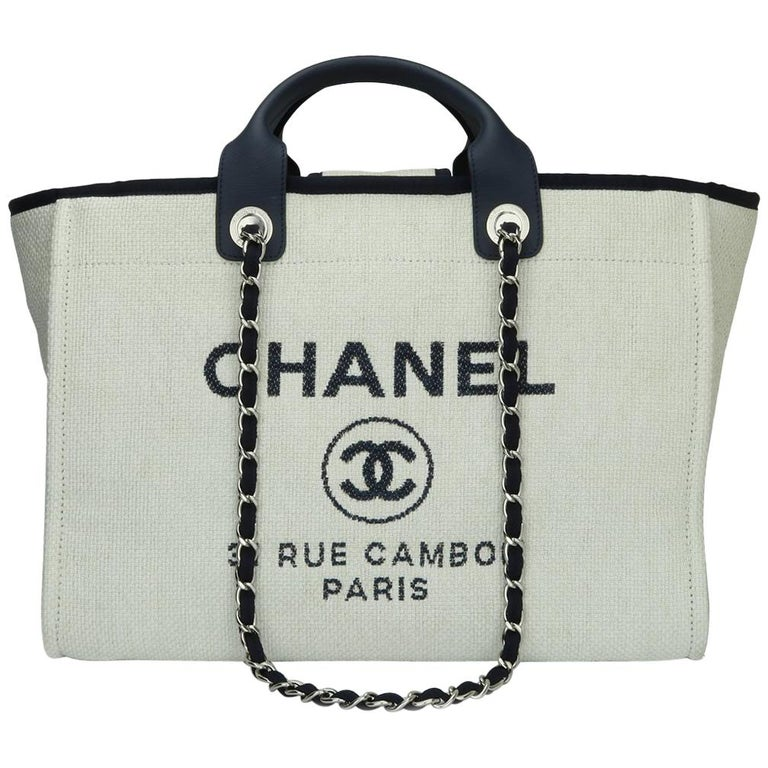 CHANEL Deauville Tote Large Navy Canvas with Silver Hardware 2018 For Sale