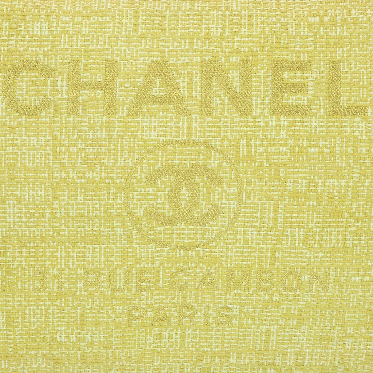 CHANEL Deauville Tote Large Yellow Canvas with Light Gold Hardware 2018 For Sale 8