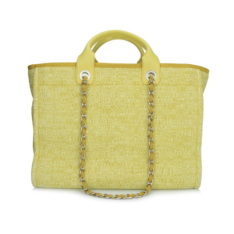 Beige CHANEL Deauville Tote Large Yellow Canvas with Light Gold Hardware 2018 For Sale