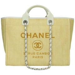CHANEL Deauville Tote Large Yellow Canvas with Silver Hardware 2014