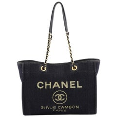 Chanel Deauville Tote Lurex Canvas Small