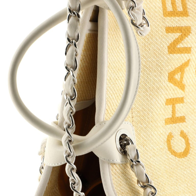 Chanel Deauville Tote Raffia Small For Sale 4