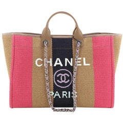 Chanel Deauville Tote Striped Viscose Canvas Large