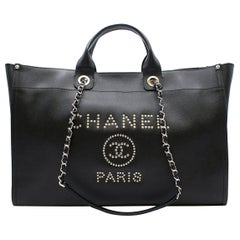 """Chanel """"Deauville"""" XL Black Studded Bag"""