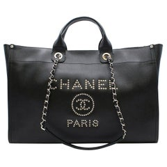 "Chanel ""Deauville"" XL Black Studded Bag"