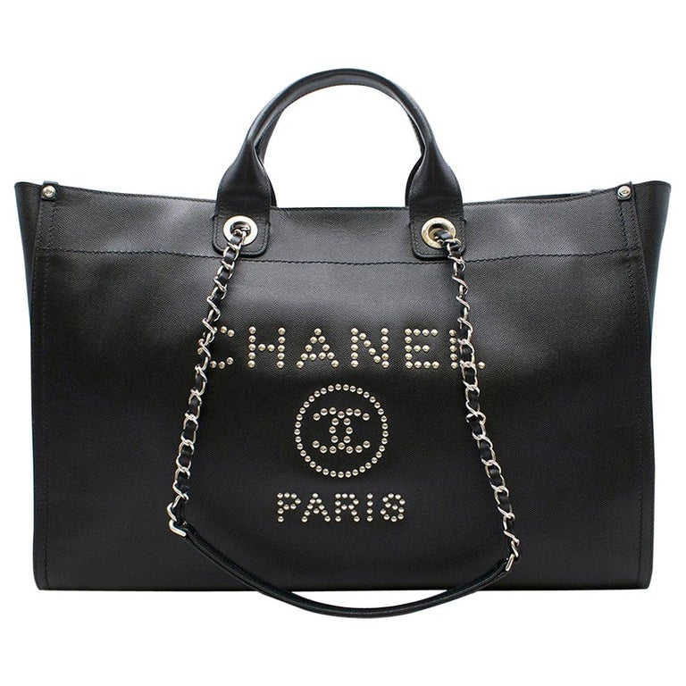 """Chanel """"Deauville"""" XL Black Studded Bag For Sale"""