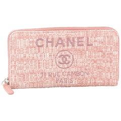 Chanel Deauville Zip Around Wallet Raffia Long