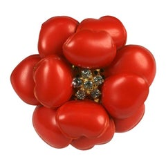 Chanel Deep Coral Nacre Camellia Pendant Brooch