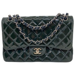 Chanel Deep Marine Patent Leather Jumbo Classic Double Flap Bag