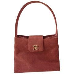 Chanel denim burgundy CC logo handbag / shoulderbag
