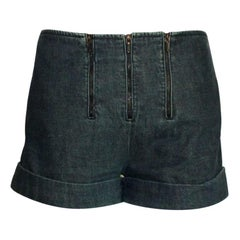 Timeless Chanel Blue Denim Jeans Hot Pants Shorts