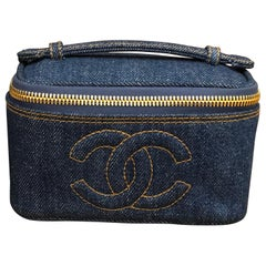 Chanel Denim Mini Vanity Case Cosmestic Pouch