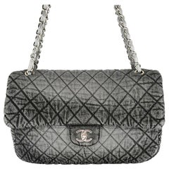 Chanel Denim Quilted Denimpressions Gray Black Medium Flap