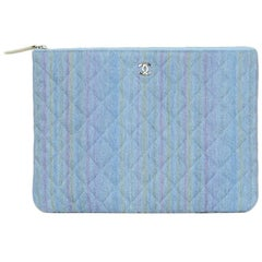 Chanel Denim Quilted O-Case Zip Top Pouch with Rainbow Stripe Wash