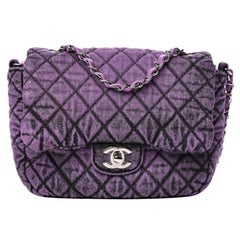 CHANEL Denim Quilted Small Flap Purple Black Runway bag Rare Classic
