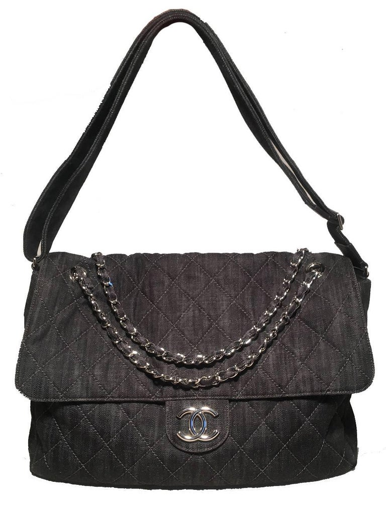 7a90be68cc29 Chanel Denim Quilted XL Classic Messenger Flap Shoulder Bag Tote in  excellent condition. Dark denim