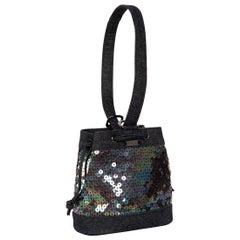 Chanel Denim Sequin Mini Bucket Bag