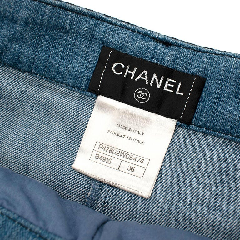 Chanel Denim Shorts with Striped Tulle Overlay 36 For Sale 1