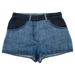 Chanel Denim Shorts with Striped Tulle Overlay 36