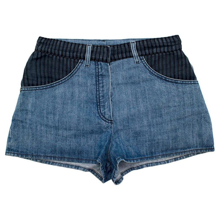 Chanel Denim Shorts with Striped Tulle Overlay 36 For Sale
