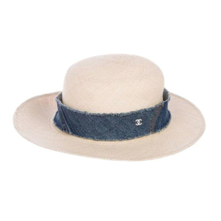 Chanel Denim Trimmed Woven Straw Hat - Size UK 7 In Excellent Condition For Sale In London, GB