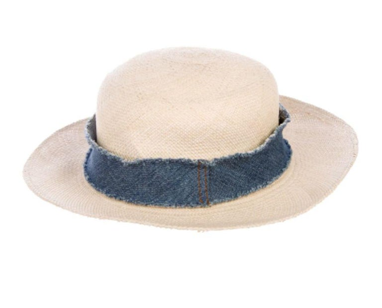 Chanel Denim Trimmed Woven Straw Hat - Size UK 7 For Sale 1