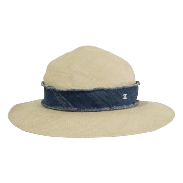 Chanel Denim Trimmed Woven Straw Hat - Size UK 7 For Sale
