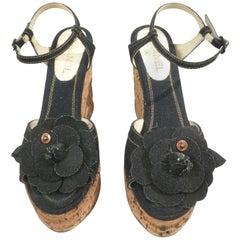 Chanel Denim Wedge Heel