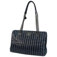 CHANEL depth stitch chain shoulder  Womens shoulder bag Navy x silver hardware