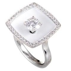 Chanel Diamond and White Enamel Square Cushion White Gold Ring