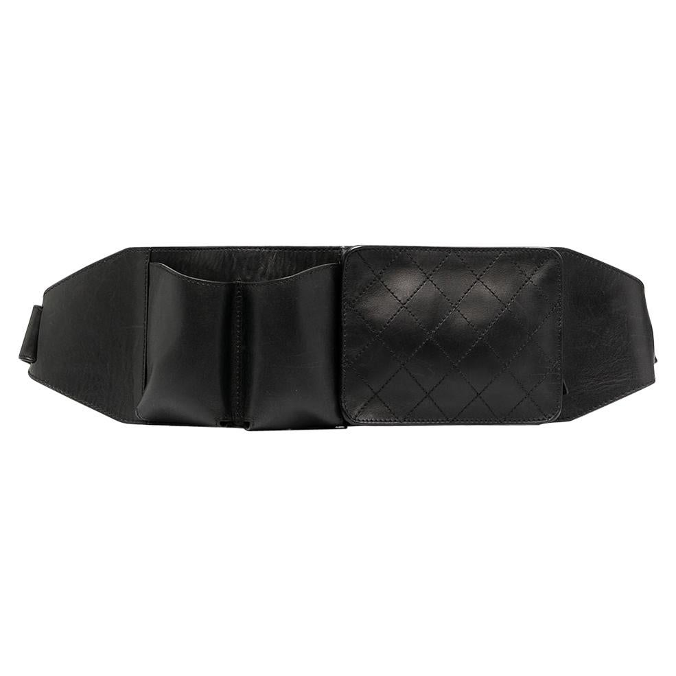Chanel Diamond Black Leather Belt Bag