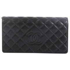 Chanel Diamond CC Flap Wallet Quilted Caviar Long