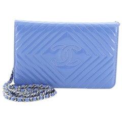 Chanel Diamond CC Wallet on Chain Chevron Patent