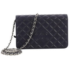 Chanel Diamond CC Wallet on Chain Quilted Caviar