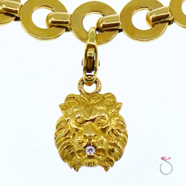 Round Cut Chanel Diamond Charm Bracelet, Five Charms, 18 Karat For Sale