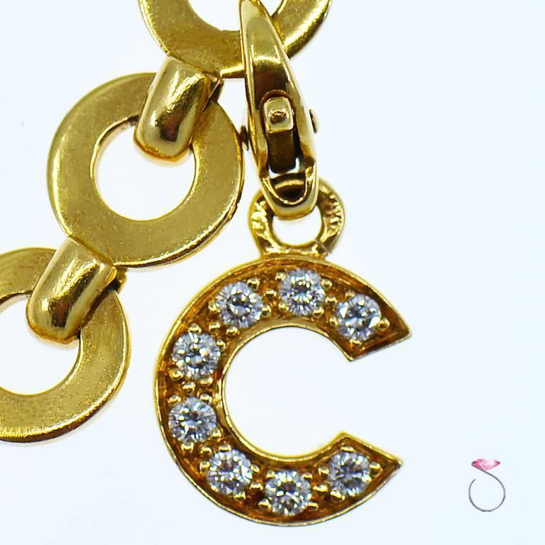 Women's Chanel Diamond Charm Bracelet, Five Charms, 18 Karat For Sale