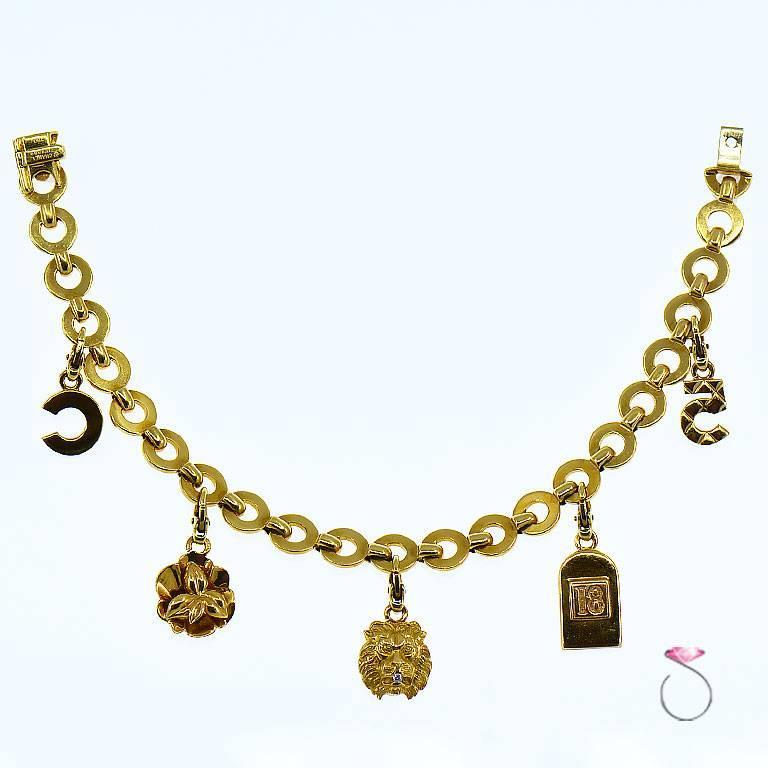 Chanel Diamond Charm Bracelet, Five Charms, 18 Karat For Sale 1