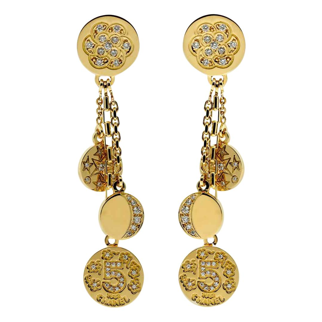 Chanel Diamond Gold Charm Earrings