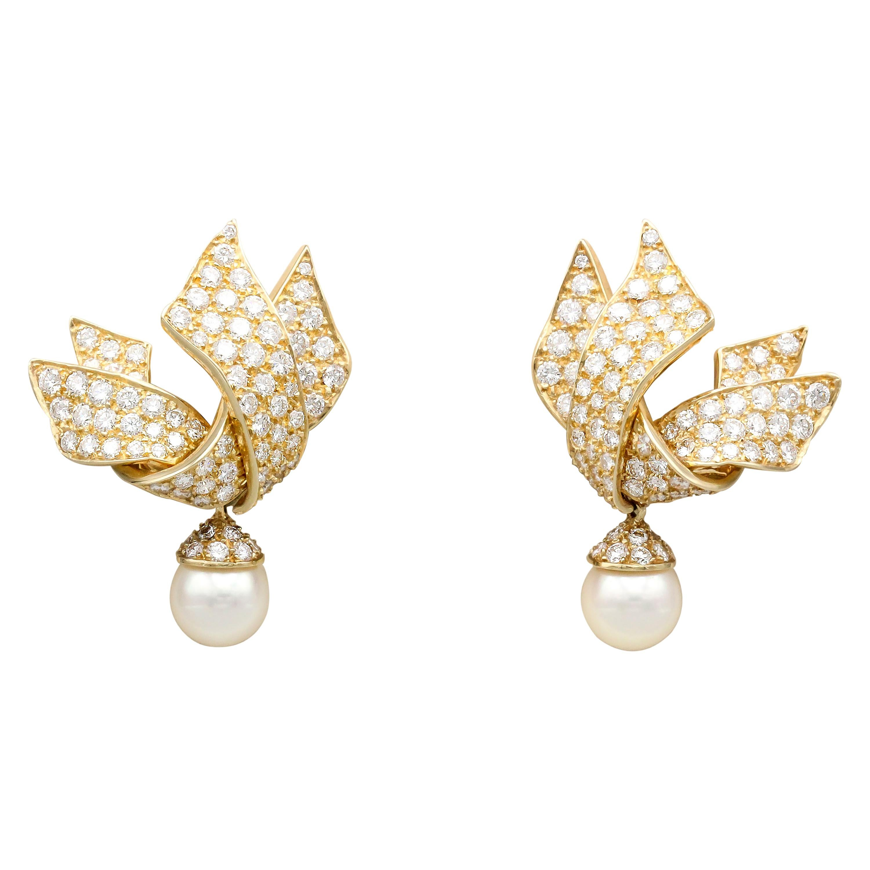 Chanel Diamond Pearl and 18 Karat Gold Day Night Earrings