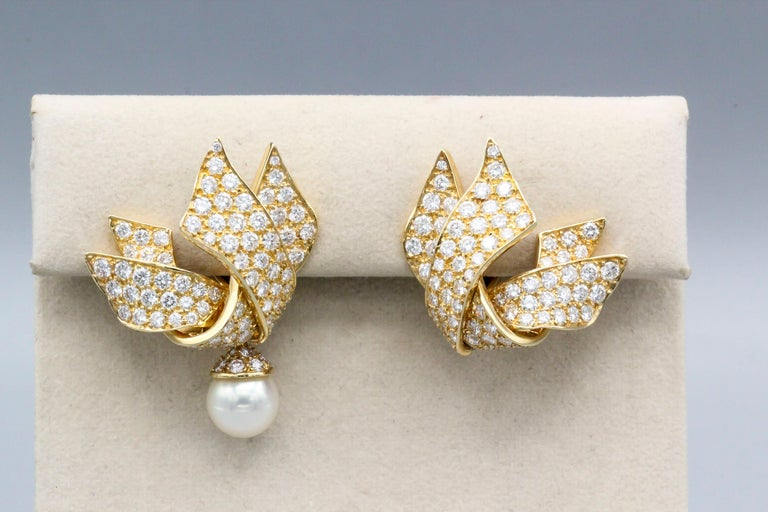 Chanel Diamond Pearl and 18 Karat Gold Day Night Earrings In Excellent Condition For Sale In New York, NY