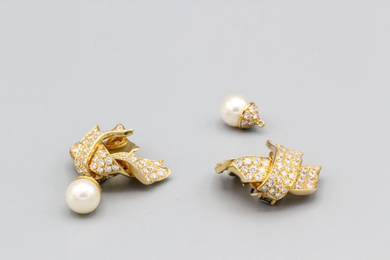 Women's or Men's Chanel Diamond Pearl and 18 Karat Gold Day Night Earrings For Sale