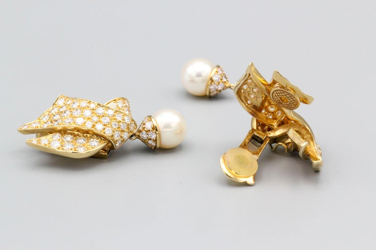 Chanel Diamond Pearl and 18 Karat Gold Day Night Earrings For Sale 2