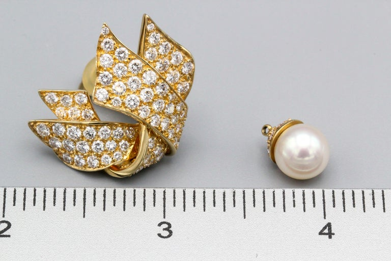 Chanel Diamond Pearl and 18 Karat Gold Day Night Earrings For Sale 5