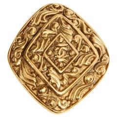 Chanel Diamond Shaped Gold Brooch