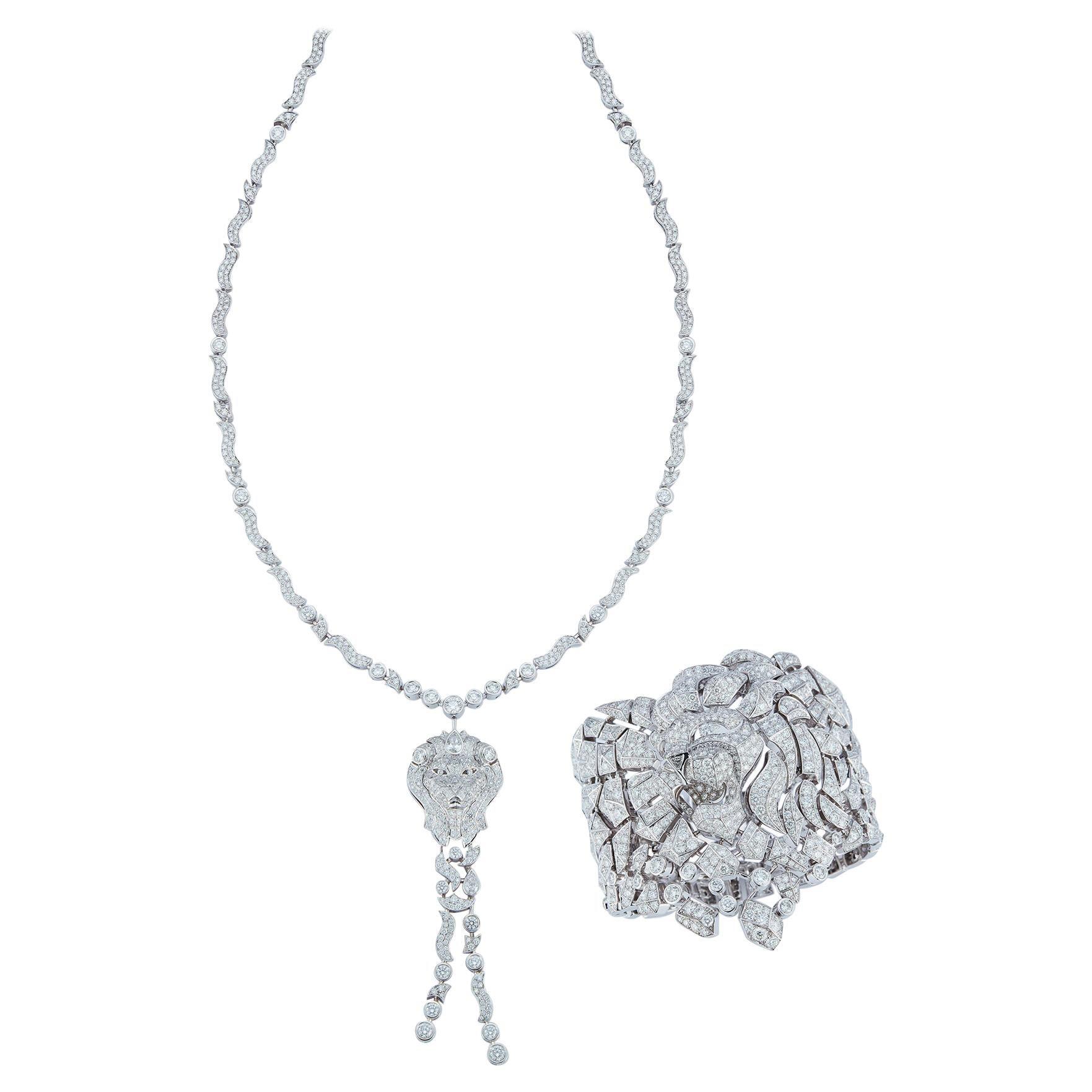 Chanel Diamond Sous le Signe du Lion Necklace & Cuff Bracelet Set